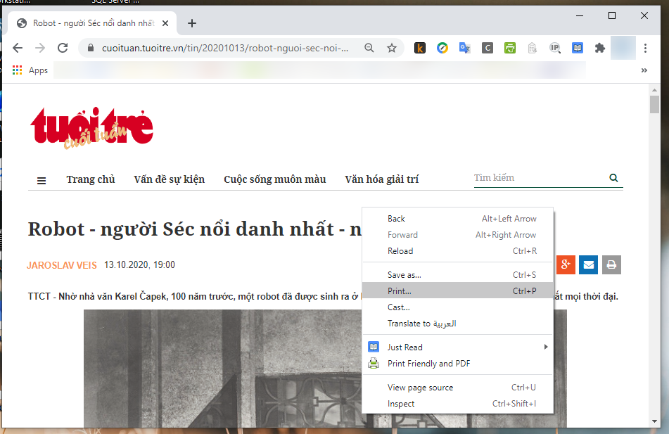 Cách lưu một trang web thành dạng PDF